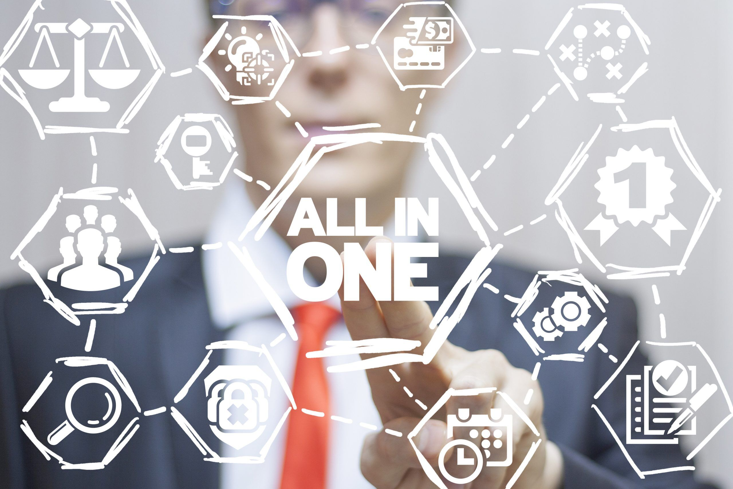 All in one business finance success concept.