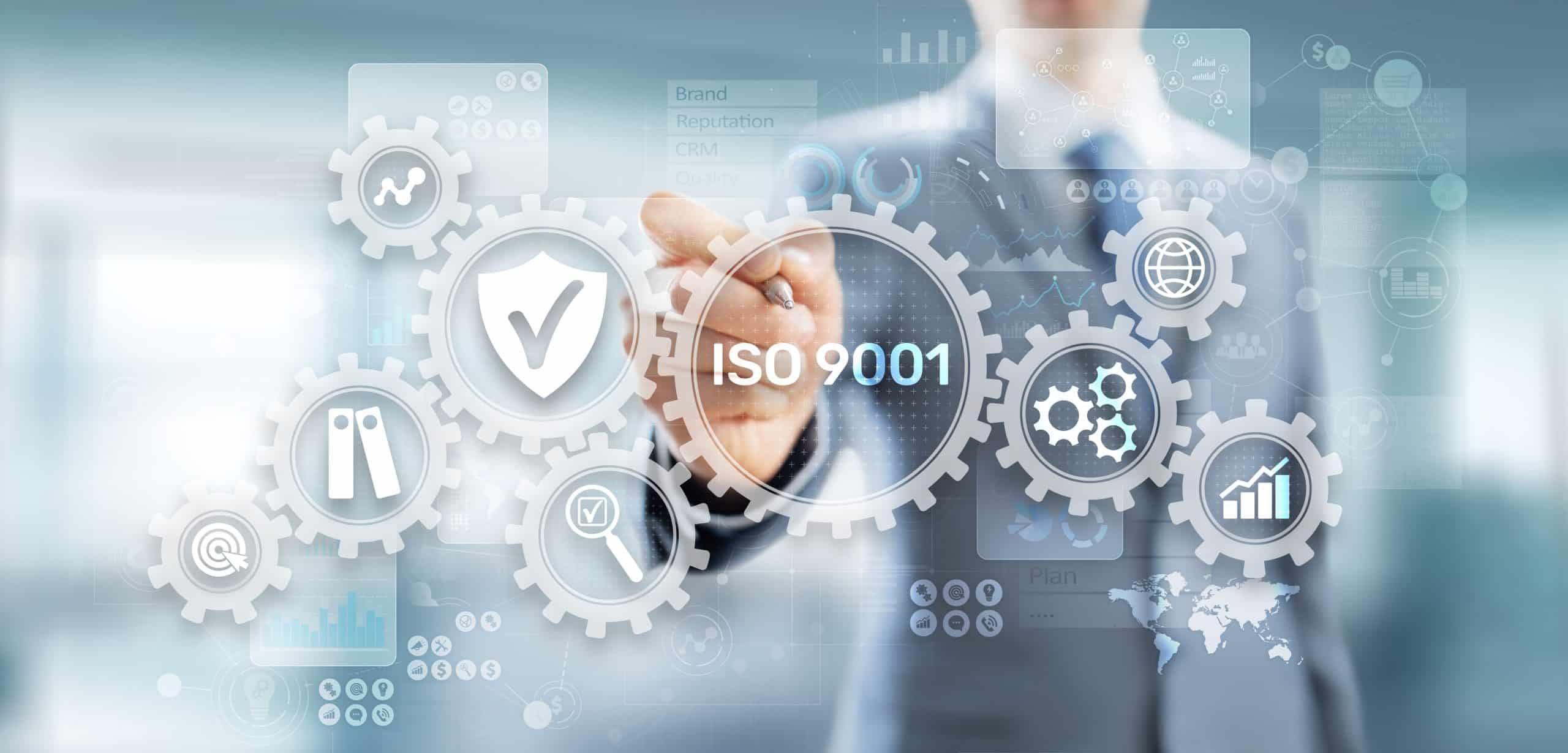 ISO 9001 Standards quality control business technology concept on virtual screen
