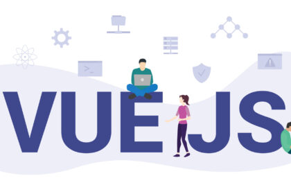 vue js concept with modern big text or word and people with icon related modern flat style vector