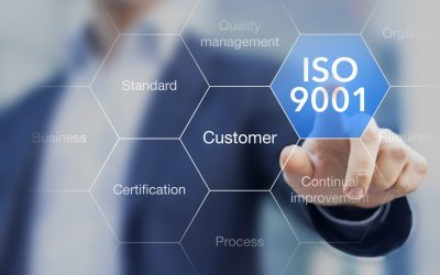 ISO 9001 standard for quality management of organisations with auditor or manager in background
